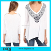 New style blouses ladies t-shirt v neck ladies 3/4 sleeve blouse designs
