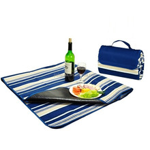 Navy Flap with Navy Stripes Waterproof Beach Blanket or Mat JLD-77031