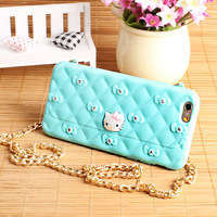 Lovely Glitter Diamond 3D Hello Kitty Decorative Handbag Wallet Back Cover Soft TPU Cell Phone Cases for Iphone and for Samsung