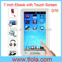 7 inch High Resolution Ebook Reader with Touch Screen Super Media Player 1080P D20
