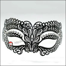 Fast Delivery Small Wholesale Venetian Party Mask, Filigree Metal Party Mask Black Masquerade Metal Party Mask