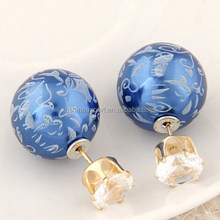 Jewelry Factory 2015 Fashion Office Lady double sided pearl earring, earring double ball
