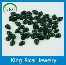Pear shape flat back cabochon green glass gemstones