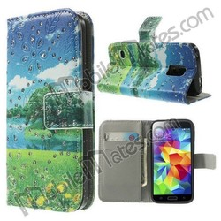 Diamond Studded Wallet Style Magnetic Flip Stand PC+PU Leather Case for Samsung Galaxy S5 Mini