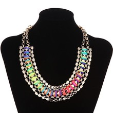 fashion jewelry made in china wholesale colorful gold chain necklace