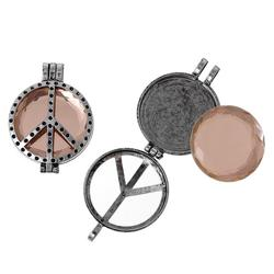 """Charm Pendants Round Antique Silver Light Brown With Glass Cabochons (Fits 30.0mm(1 1/8"""") Dia.) Peace Symbol Pattern"""