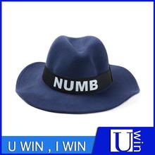Cinta carta sombrero de fieltro superior barato sombrero de lana para vaquero