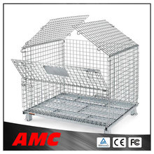 Multifunctional Industrial Foldable Stainless Steel Storage Cage Container With Wheel