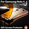 Note 4 Ultra Thin Acrylic Mirror Back Cover + Aluminum Metal Frame Bumper Case for Samsung Galaxy Note 4 N9100 Phone Bags