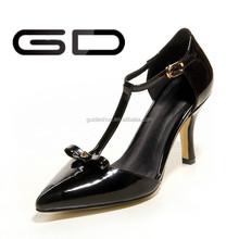 Fashion lady high heel T- strap classic lady sandal shoes 2015