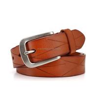 """Chinese factory wholesale fancy italian leather belts cheap 1 1/2"""" 38mm nickel free pin buckle men women genuine leather belt"""