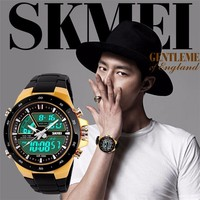 SKMEI Branded Fashion Analog Digital Quartz Watch, OEM Factory China Gold Wrist Watch for Men 1016