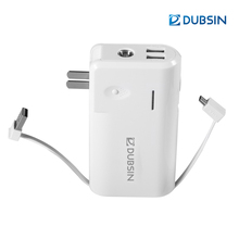 Dubsin CE/RoHS LEAD FREE AC220V & DC5V input 10000mah 26650 Battery Mobile Power Banks with Built-in Plug and Charging Cable