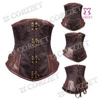 Corzzet New 2078 Brown Broacde Gothic Underbust Corset Tallas Grandes Corpete E Espartilho Floral Patterned Bustier Steel Bone