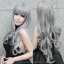 YILU Long Grey Wavy Wigs Gray Lolita Cosplay Wig Kanekalon Costume Party Wig For Halloween