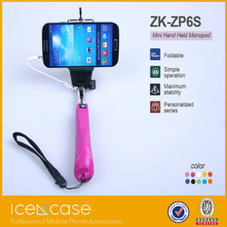 pocket size cable take pole selfie stick, foldable mirror monopod, selfie stick with cable