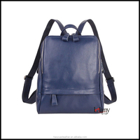High quality blue leather backpack