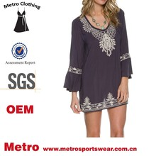 fashion style flared bell sleeves embroidered boho tunic dress