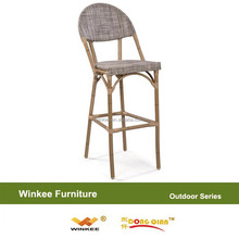 Bamboo like outdoor bar chair garden rattan barstool furniture