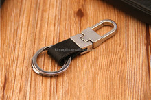 2 Loops Black Leather Strap Keyring Keychain Key Chain Ring Key Fob for men