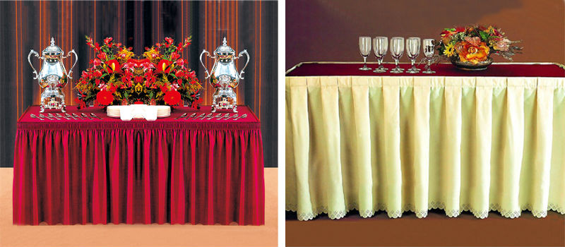 Wholesale table skirting table skirts table cover xy35 for Table skirting