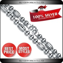 Factory Direct Cheap Men's Necklace Chains, 925 Silver Men beaded necklace