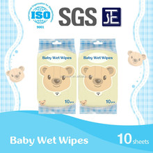 10sheets supermarket portable Baby skin-care wet wipes&towel&tissue&napkins manufacory