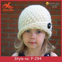 F-294 new cute girl beauty grey handmade crochet beanie,knitted button hat