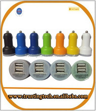 two USB car charger adapter 2.1A and 1A