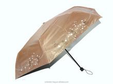 Golden super mini umbrella tiny rain umbrella 3 fold umbrella