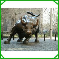 Wall street cast bronze bull sculpture