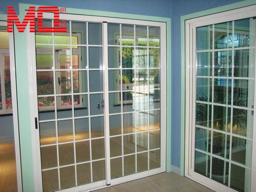 Grille design plastic pvc waterproof interior french doors for Plastic french doors