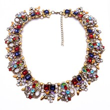 New product thick chain choker nacklace colorful luxurious jewelry necklace 2015