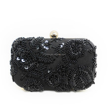 Light gold metal Black canvas nero beaded evening bags