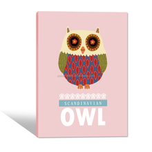 Cute OWL Canvas Picture For Kid Room/Lovely Animal Wall Art/Pink Canvas Printing Art