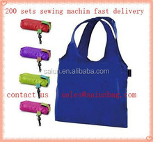 Multi color cheap Promotional nylon foldable shopping tote bag with plastic hook