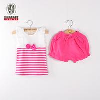 Kid clothes 2012 pure color ruffle short pant kids clothing suit