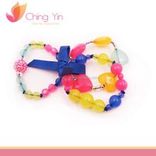 Trendy Fashion Baby Girls' Jewelry 3 in 1 Set Beads with Ribbon Tie Elastic Bracelets