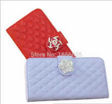 """Fashion camellia button Magnetic Flip Book Style Young Lamb's Skin Leather Case Cover for iPhone 6 4.7"""" Handbag with Card Slot"""
