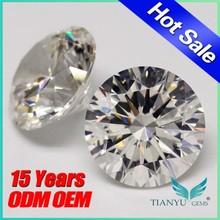 Free sample faceted cubic zirconia wuzhou gems round brilliant cut Wholesale Synthetic White CZ Diamond Color gemstone