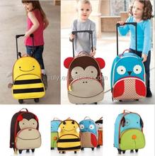 Travel School backpack wheeled Luggage Children Animal Suitcase kids Trolley Bag