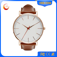Custom Design Stainless Steel Sports Watches Men, Leather Band China Wristwatch