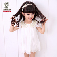 Baby girls summer dresses 2014 pure color 100% cotton baby dresses