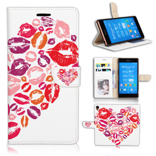 Beauty Sexy Heart Lips Leather PU Case For Sony Xperia Z3 Flip Cover