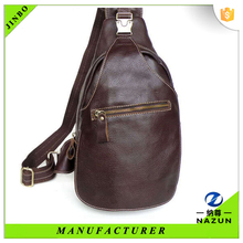 clever man's smooth deep brown chest bag for travelling