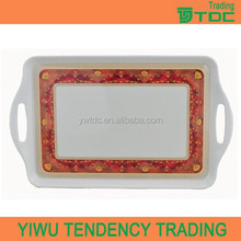 popular design good quality melamine serving tray with handles