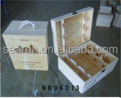 Wine Bottle Box Case Carrier Wood PU Leather Gift For 6 Bottles
