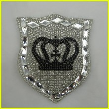 Wholesale Hot-fix Crown Design Rhinestone Beaded Patches for Shoes,T-shirt, bags