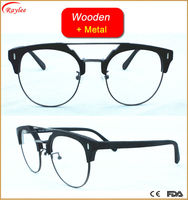 italy design eyewear hinge Imitation Wood Vintage stone optical Frame Glasses