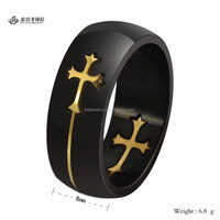 Stainless Steel Black Gold Cross Ring Two Tone Ring for Men Wholesale